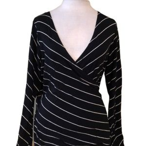 H&M B'B Black Stripe Wrap Blouse Wide Sleeve Top